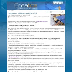Usages des tablettes tactiles en EPS
