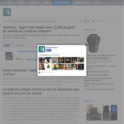 Tablettes : Apple reste leader avec 22,8% de parts de marché au troisième trimestre