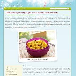 Taboulé jaune orangé de quinoa, curcuma, chou-fleur orange et fruits secs