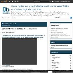 Tabulations sous word - Cours faciles sur les principales fonctions de Word'Office et d'autres logiciels pour tous