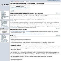 Tâches actionnelles autour des séquences