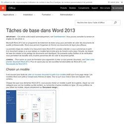 Tâches de base dans Word2013