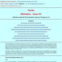 Tacite - Histoires - Livre IV