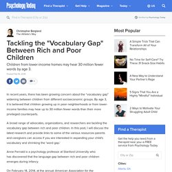 "Tackling the ""Vocabulary Gap"" Between Rich and Poor Children"