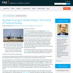 Nuclear Hiccup in South Korea: The Limits of Tactical Nukes » FAS Strategic Security Blog