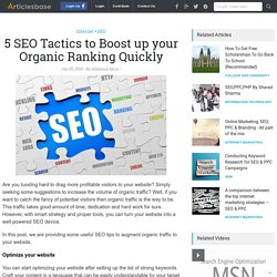 5 SEO Tactics To Increase Organic Ranking