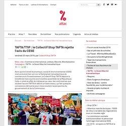 TAFTA/TTIP : le Collectif Stop TAFTA rejette l'avis du CESE