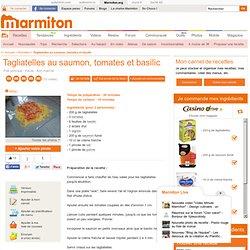 Tagliatelles au saumon, tomates et basilic : Recette de Tagliatelles au saumon, tomates et basilic