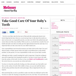 Take Good Care Of Your Baby's Teeth