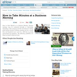 How to Take Minutes at a Business Meeting