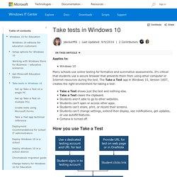 Take tests in Windows 10