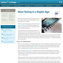 Note-Taking in a Digital Age - Online College