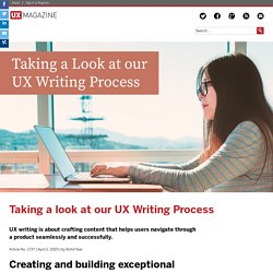 Taking a look at our UX Writing Process
