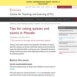 Tips for taking quizzes and exams in Moodle