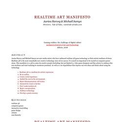 Tale of Tales - Realtime Art Manifesto
