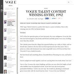 Vogue Talent Contest Winning Entry, 1992: Harriet Quick (Vogue.co.uk)