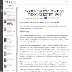 Vogue Talent Contest Winning Entry, 1999: Owen Sheers (Vogue.co.uk)