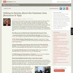 Talk To Parents About The Common Core