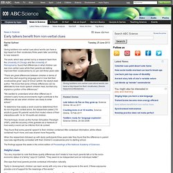 Early talkers benefit from non-verbal clues › News in Science (ABC Science)