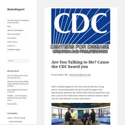 Are You Talking to Me? Cause the CDC heard you - BolenReport
