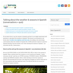 Talking about the weather & seasons in Spanish (conversations + quiz)
