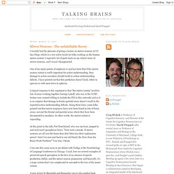 Talking Brains: Mirror Neurons - The unfalsifiable theory