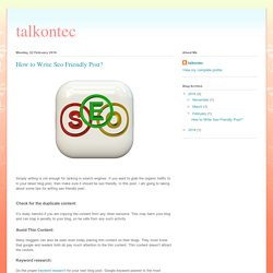 talkontec: How to Write Seo Friendly Post?