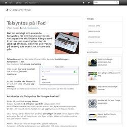 Talsyntes på iPad