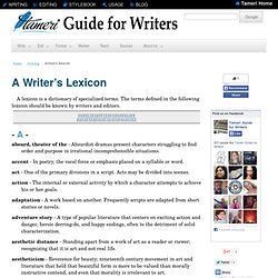 Guide for Writers: A Writer's Lexicon