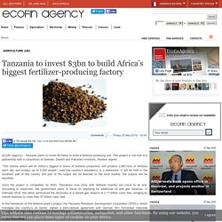Tanzania to invest $3bn to build Africa's biggest fertilizer-producing factory - Ecofin Agency