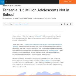 Tanzania: 1.5 Million Adolescents Not in School