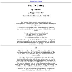 Tao Te Ching - Translated by J. Legge