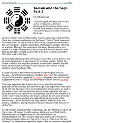 Taoism and the Sage - Part 5