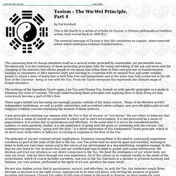 Taoism - The Wu-Wei Principle - Part 4