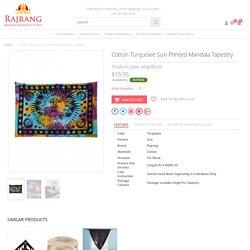 Cotton Turquoise Sun Printed Mandala Tapestry