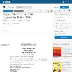 Tapie: l'arret de la Cour d'appel du 17 fev. 2014