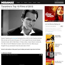 Tarantino's Top 10 Films of 2013