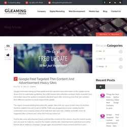 Google Fred Targeted Thin Content and Advertisement Heavy Sites - Gleaming Media