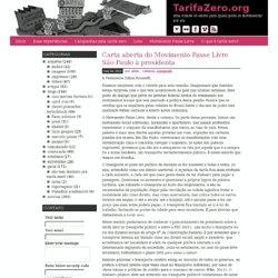 Carta aberta do Movimento Passe Livre São Paulo à presidenta