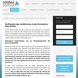 Tarification des conférences, des formations et de la consultation chez Anima