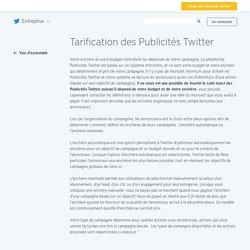 Tarification des Publicités Twitter