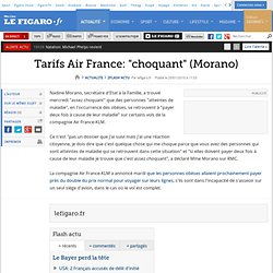 Flash actu : Tarifs Air France: ''choquant'' (Morano