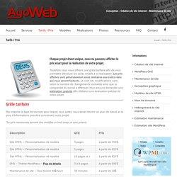 Tarifs, prix pour un site internet