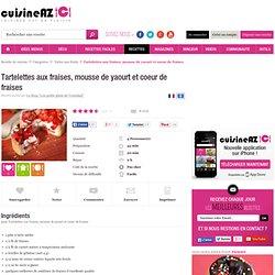 Recette de Tartelettes aux fraises, mousse de yaourt et coeur de fraises