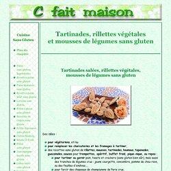 Tartinades, rillettes végétales et mousses de légumes sans gluten.