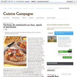 Tartines de ratatouille au four, speck et parmesan