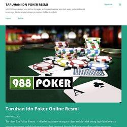 Taruhan Idn Poker Online Resmi