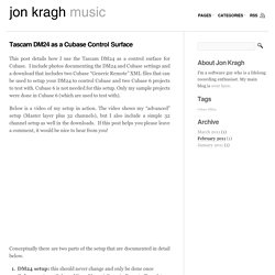 Tascam DM24 as a Cubase Control Surface « Jon Kragh's Music Blog