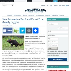 Save Tasmanian Devil and Forest From Greedy Loggers – ForceChange