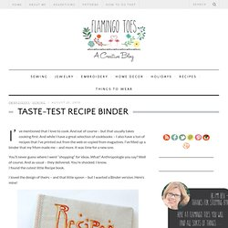 Taste-Test Recipe Binder